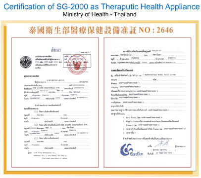 Picture of Thai Health Ministry Certificate for the home spa products